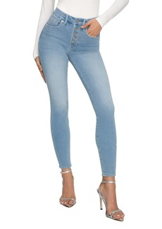 Good American Good Legs Button Fly Ankle Skinny Jeans (Blue 613)