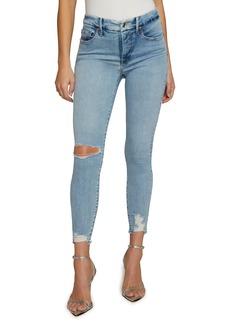 Good American Good Legs Chewed Hem Skinny Jeans (Blue 616)