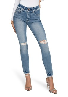 Good American Good Legs Frayed High Waist Ankle Skinny Jeans