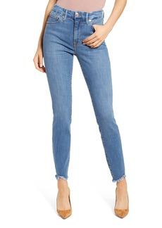 Good American Good Legs High Waist Jagged Fray Hem Skinny Jeans (Blue 611)