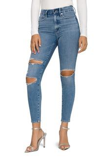 Good American Good Legs High Waist Ripped Crop Skinny Jeans (B617)