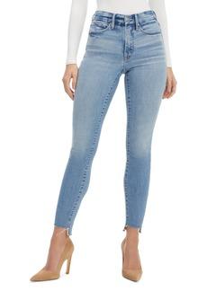 Good American Good Legs Raw Step Hem Skinny Jeans (Blue 663)