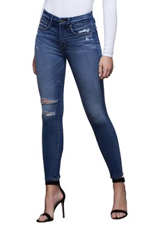 Good American Good Legs Ripped High Waist Ankle Skinny Jeans (Blue 377) (Regular & Plus Size)