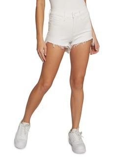 Good American High Waist Step Hem Cutoff Denim Shorts (White 024)