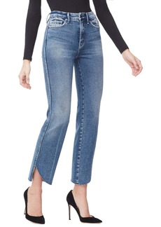 Good American Good Curve Cascade Hem Straight Leg Jeans (Regular & Plus Size)