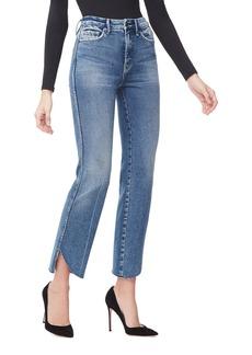 Good American Good Curve Straight Cascade-Hem Jeans - Inclusive Sizing