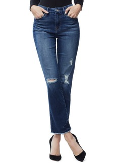 Good American Good Straight Frayed Ankle Jeans (Blue 178) (Regular & Plus Size)