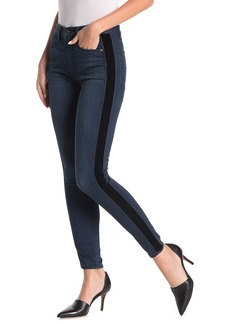 Good American Good Waist Velvet Tuxedo Stripe High Waist Skinny Jeans (Regular & Plus)