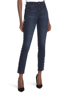 Good American Lattice Cut Out Skinny Jeans