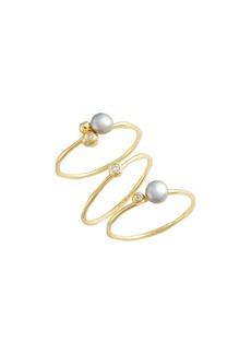 gorjana Vienna Shimmer Freshwater Pearl & Crystal Ring Set