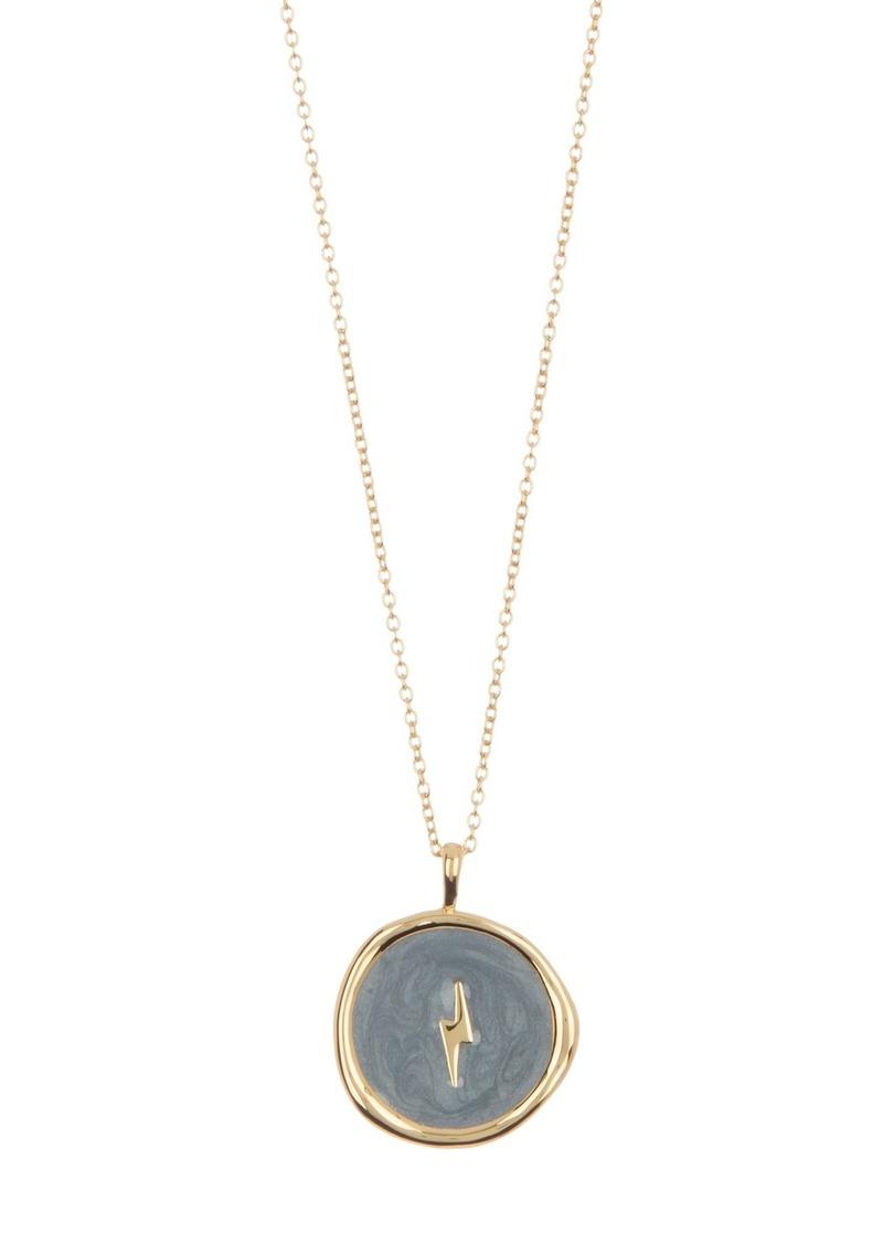 Gorjana Lightning Bolt Coin Pendant Necklace