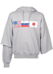 Gosha asymmetric flag print hoodie