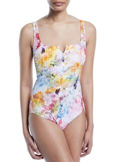 Gottex Aquarelle Square-Neck Partial-Zip Floral-Print Ribbed One-Piece Swimsuit