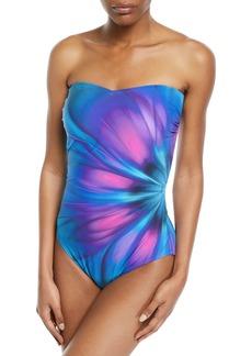 Gottex Belle Fleur Printed Bandeau One-Piece Swimsuit