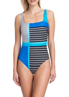Gottex Blue Lagoon Square-Neck Tank One-Piece Swimsuit