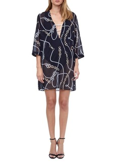 Gottex Chain-Print Lace-Up Tunic