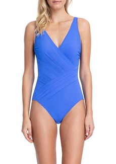Gottex Draped Surplice One-Piece Swimsuit