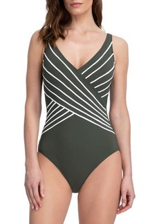Gottex Embrace Striped Surplice One-Piece Swimsuit