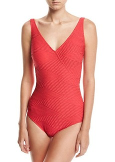 Gottex Essence Textured Surplice One-Piece Swimsuit