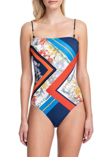 Gottex Fleur Royal Bandeau One-Piece Swimsuit