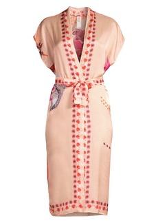 Gottex Floral Tie-Waist Cotton Silk Kimono