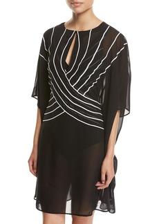 Gottex Embrace Striped Belt Caftan Coverup  Black
