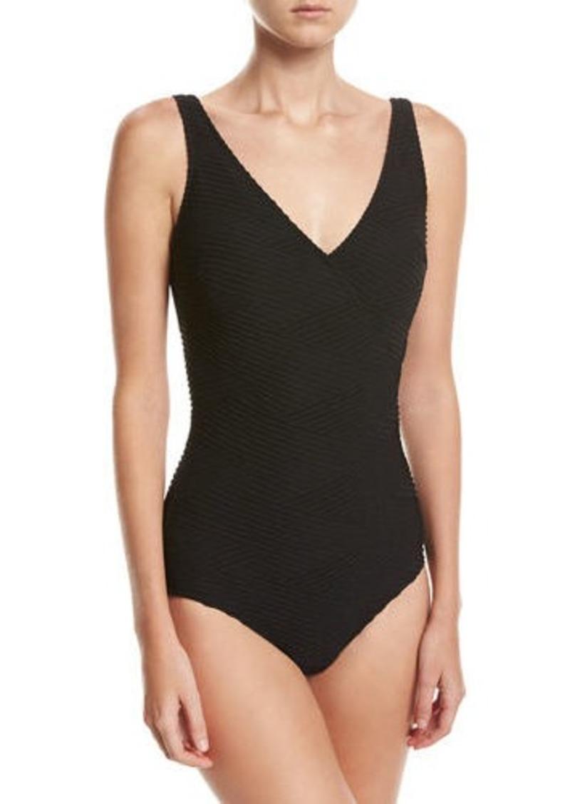 7ad5d071f99c9e Gottex Gottex Essence Textured Surplice One-Piece Swimsuit ...