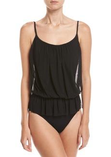 Gottex Lattice Bandeau Blouson One-Piece Swimsuit