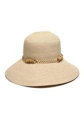 Gottex San Remo Sun Hat w/ Silvertone Bamboo-Chain Band