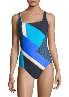 Gottex Maritime One-Piece Squareneck Swimsuit