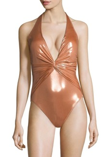 Gottex Tourmaline One-Piece V-Neck Swimsuit