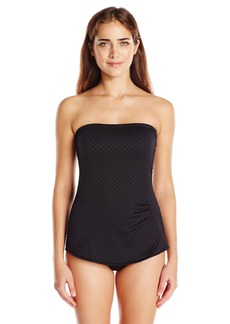 Gottex Women's Textured Solid Bandeau Swimdress One Piece Swimsuit Diamond in The Rough Black