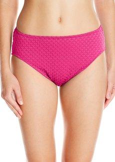 Gottex Women's Textured Solid High Waist Swimsuit Bottom Diamond in The Rough Magenta