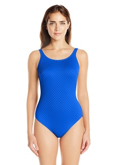 Gottex Women's Textured Solid Mastectomy High Neck One Piece Swimsuit Diamond in The Rough Royal Blue