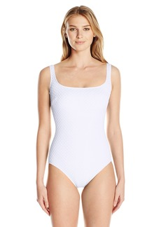 Gottex Women's Extra Coverage Textured Solid Square Neck One Piece Swimsuit Diamond in The Rough White