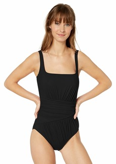 Gottex Women's Draped Panel Square Neck One Piece Swimsuit Vista Black-Extra Coverage