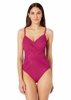 Gottex Women's Draped Panel V-Neck One Piece Swimsuit