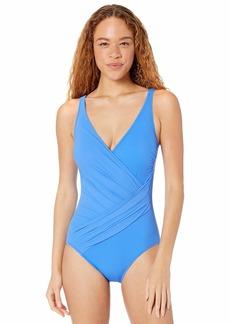 Gottex Women's Draped Panel Wrap Surplice One Piece Swimsuit