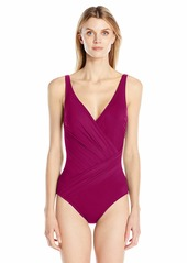 Gottex Women's Draped Panel Wrap Surplice One Piece Swimsuit
