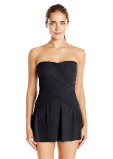 Gottex Women's Draped Panel Bandeau Swimdress One Piece Swimsuit Lattice Black III
