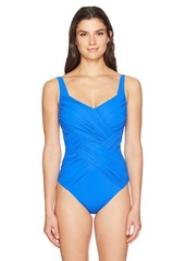 Gottex Women's Lattice Shaped Square Neck One Piece Swimsuit
