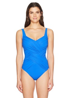 Gottex Women's Solid Draped Panel Shaped Square Neck One Piece Swimsuit