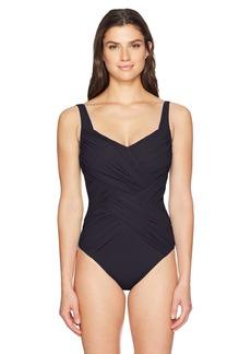 Gottex Women's Solid Draped Panel Shaped Square Neck One Piece Swimsuit Lattice Black II