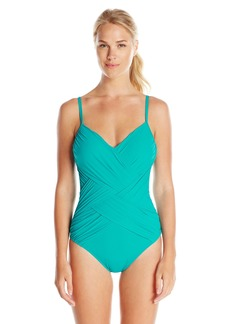 Gottex Women's Lattice Skinny Strap V-Neck One Piece Swimsuit Peacock  US