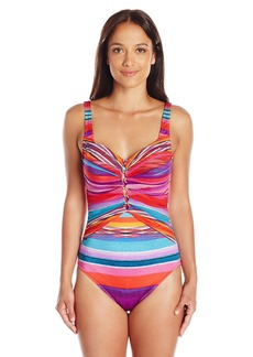 Gottex Women's Printed Mesh Overlay Sweetheart Square Neck One Piece Swimsuit