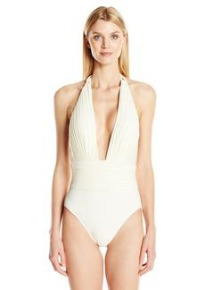 Gottex Women's Pleated Solid Deep Plunge Halter One Piece Swimsuit