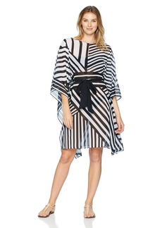 Gottex Women's Printed Waist Tie High Neck Caftan Swimsuit Cover up