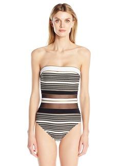 Gottex Women's Sheer Paneled Textured Print Bandeau One Piece Swimsuit