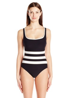 Gottex Women's Contrast Piping Convertible Strap Scoop Neck One Piece Swimsuit