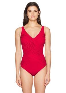 Gottex Women's Solid Draped Panel Surplice V-Neck One Piece Swimsuit